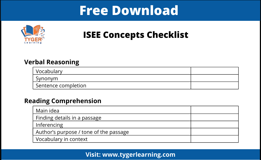 ISEE Study Plan | Tyger Learning